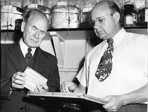 William Cruess (left) and Emil Mrak (right) with the yeast collection in 1944